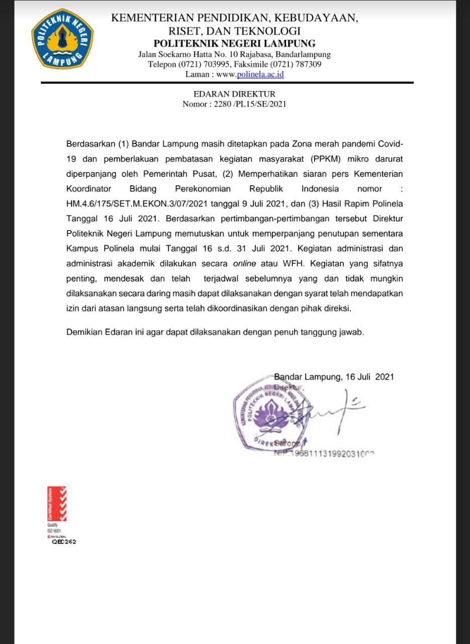 Surat Edaran No. 22803/PLS/SE/2021
